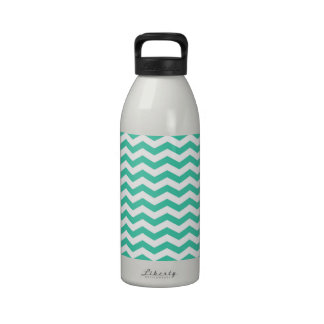 Seafoam Green and White Chevron Stripes Drinking Bottle