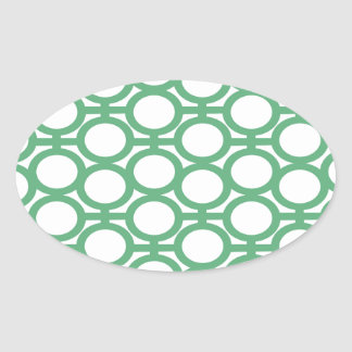 Seafoam Green and White Eyelets Oval Sticker