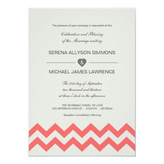Seafoam Green Wedding Ideas: Seafoam Green & Coral Chevron Wedding Invitations