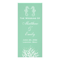 Seafoam Green Coral Reef Seahorse Wedding Program