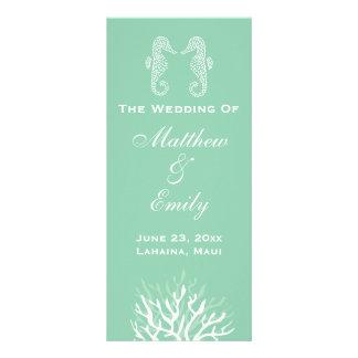 Seafoam Green Coral Reef Seahorse Wedding Program Rack Card Template