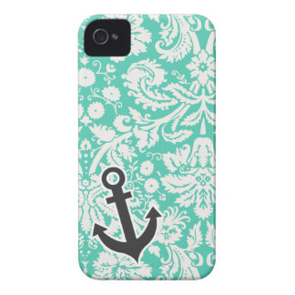Seafoam Green Damask Anchor iPhone 4 Covers