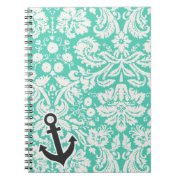 Seafoam Green Damask; Anchor Notebook