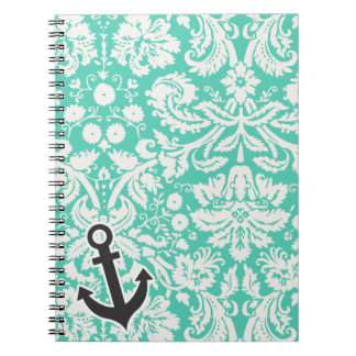 Seafoam Green Damask; Anchor Spiral Note Books
