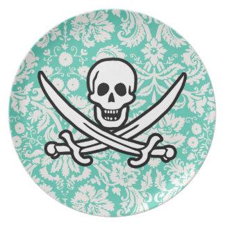 Seafoam Green Damask Jolly Roger Dinner Plates