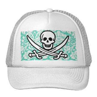Seafoam Green Damask Jolly Roger Trucker Hat
