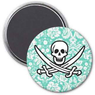 Seafoam Green Damask Jolly Roger Fridge Magnet