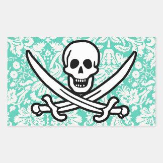Seafoam Green Damask Jolly Roger Rectangular Sticker