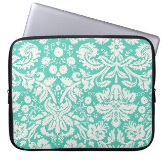 Seafoam Green Damask Laptop Computer Sleeves