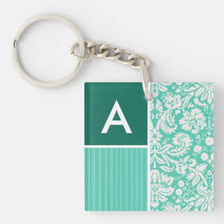 Seafoam Green Damask Pattern Double-Sided Square Acrylic Keychain