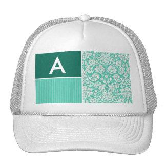 Seafoam Green Damask Pattern Trucker Hat