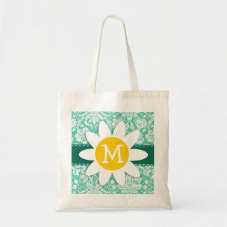 Seafoam Green Damask; Spring Daisy Canvas Bag