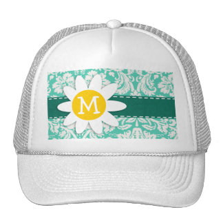 Seafoam Green Damask; Spring Daisy Trucker Hat