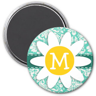 Seafoam Green Damask; Spring Daisy Fridge Magnet