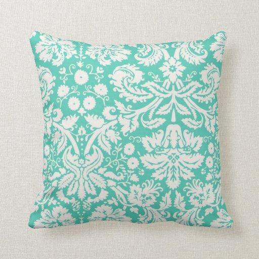 Throw Pillow Seafoam Green : Seafoam Green Damask Throw Pillows Zazzle