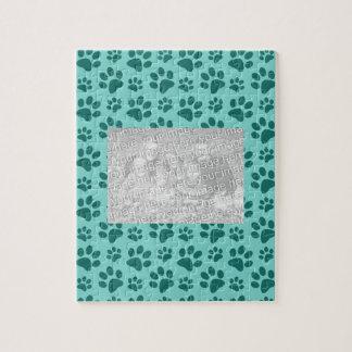 seafoam green dog paw print pattern jigsaw puzzles