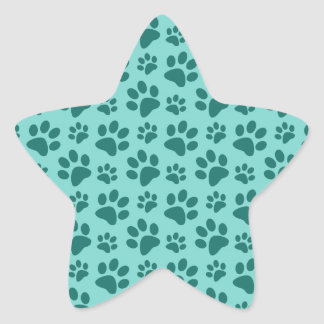 seafoam green dog paw print pattern star stickers