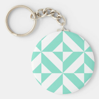 Seafoam Green Geometric Deco Cube Pattern Keychain