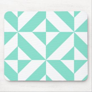 Seafoam Green Geometric Deco Cube Pattern Mouse Pad