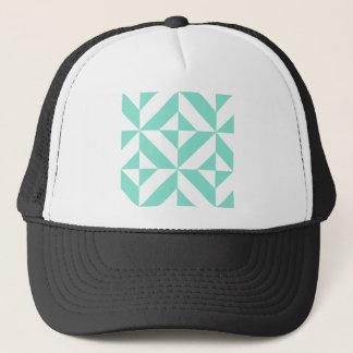 Seafoam Green Geometric Deco Cube Pattern Trucker Hat