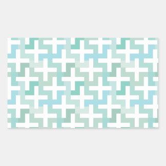 Seafoam Green Geometric Rectangular Sticker