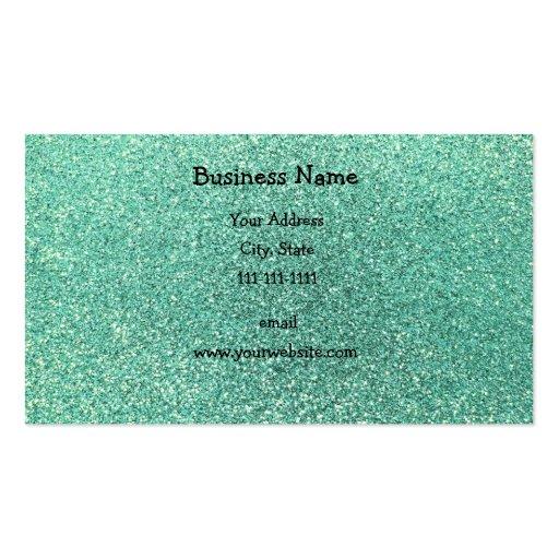 Seafoam green glitter business card