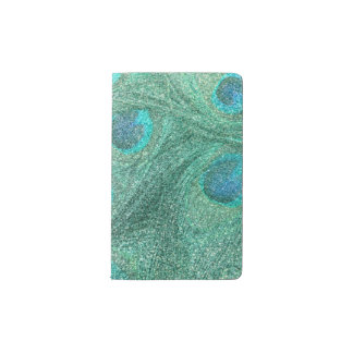 Seafoam green glitter peacock feathers pocket moleskine notebook cover with notebook