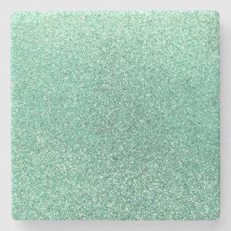 Seafoam green glitter stone coaster