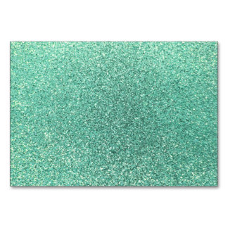 Seafoam green glitter table card