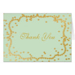 Seafoam Green Gold Confetti Frame Thank You Stationery Note Card
