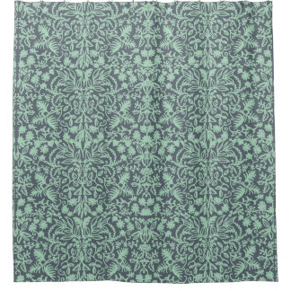 seafoam green jungle foliage shower curtain