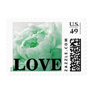 Seafoam Green Love Floral Peony Postage Stamps