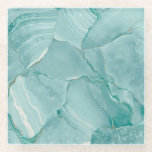 "Seafoam Green Marble Glass Coaster<br><div class=""desc"">Fractured marble design in shades of seafoam and mint</div>"