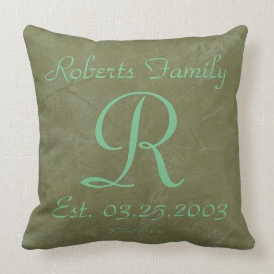Seafoam Green Monograms Rustic Glam Throw Pillow