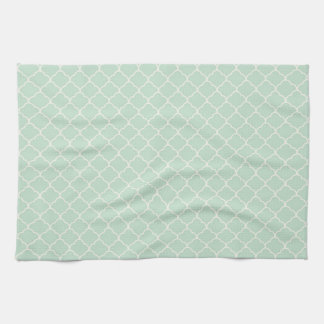 Seafoam Green Moroccan Quatrefoil Pattern Kitchen Towels