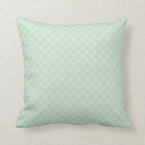 Seafoam Green Moroccan Quatrefoil Pattern Throw Pillow
