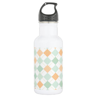 Seafoam Green, Peach, White Checkered Argyle Stainless Steel Water Bottle