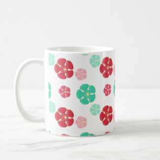 Seafoam Green Red and Pink Tropical Flowers Coffee Mugs