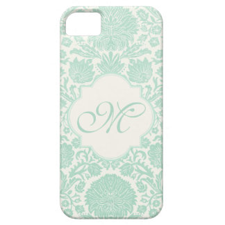 Seafoam Green Retro Floral Damask with Monogram iPhone 5 Cases