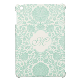 Seafoam Green Retro Floral Damask with Monogram Cover For The iPad Mini