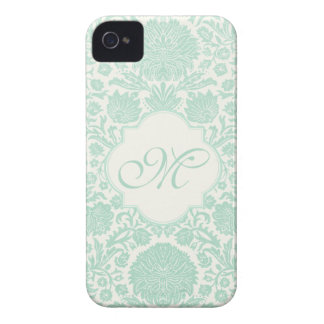 Seafoam Green Retro Floral Damask with Monogram iPhone 4 Cover