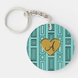 Seafoam green retro squares monogram Single-Sided round acrylic keychain