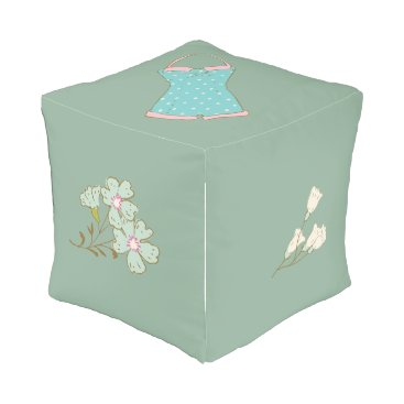 Beach Themed Seafoam Green Retro Summer Floral Swimsuit Outdoor Pouf