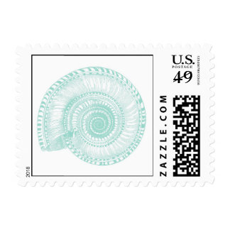 Seafoam Green Sea Shell Postage Stamp