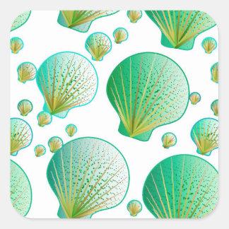 Seafoam green seashells on white square sticker