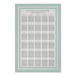 Seafoam Green Seigaiha Wedding/Event Seating Chart