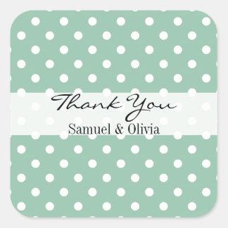 Seafoam Green Square Custom Polka Dotted Thank You Square Sticker