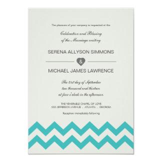 Seafoam Green & Teal Chevron Wedding Invitation