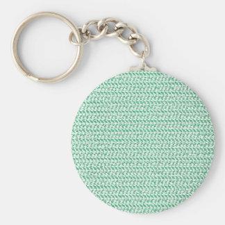 Seafoam Green Weave Mesh Look Basic Round Button Keychain