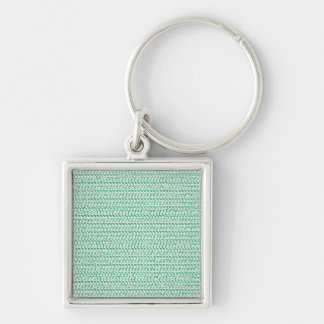 Seafoam Green Weave Mesh Look Silver-Colored Square Keychain